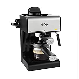 Mr. Coffee BVMC-ECM180 Steam Espresso with Starter Set, Black 1 Steam system brews up to 20 ounces of delicious Espresso Coffee Powerful milk frothier for creamy cappuccinos and lattes Features cord length of 24 inches with 900 Watt capacity