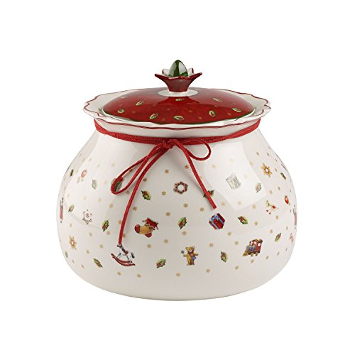 Villeroy & Boch Toy's Delight Grand pot de conservation, Porcelaine Premium, Blanc/Rouge