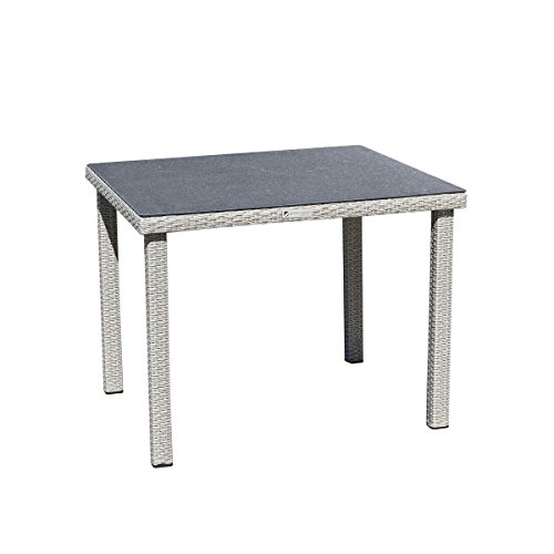 greemotion Table Malmö – Garden Table with Unique Spraystone Surface – Outdoor Rattan Table All Weather - Ideal for your Balcony, Garden, Patio, Porch or Conservatory – Garden Furniture