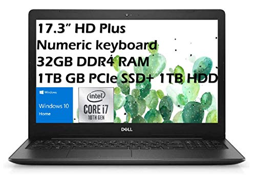 Dell 2021 Inspiron 17.3'' HD Plus Business Laptop, Intel i7-1065G7(up to 3.9 GHz, 8MB Cache), 32GB DDR4 Memory, 1TB PCIE SSD, 1TB HDD, HDMI, WiFi, Webcam, DVD Drive, Numeric Win 10 Home