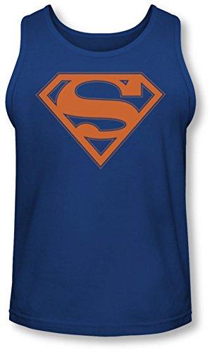 Superman - - Bleu & Orange Shield Tank-Top pour hommes, Bleu - Bleu marine, X-Large