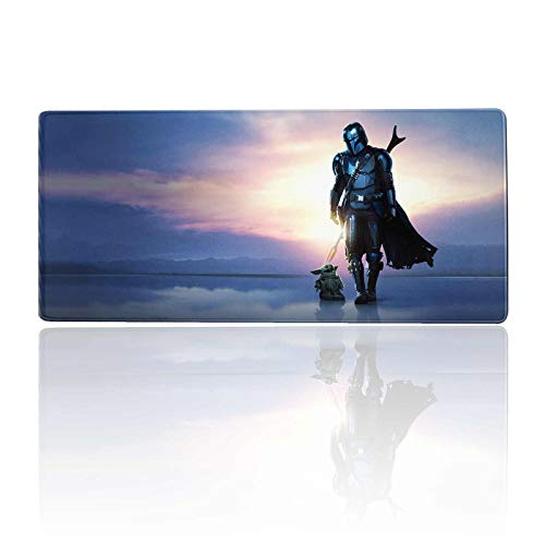 Large Gaming Mouse Pad Mandalorian and Babyyoda,Mousepad with Stitched Edges & Non-Slip Rubber Base-3Mm Thick-Laptop Desk Pads-Computer Keyboard and Mice Combo Pad Mat 11.8X23.6