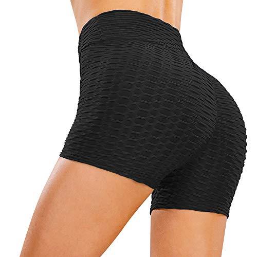 Voqeen Leggings Sportivi Shorts Donna Pantaloncini Vita Alta Fitness Push Up Pants Elastico Pantaloni da Yoga Nido d'Ape 3D Palestra Corti Legging(3/10 Pantaloncini-Nero,S)