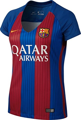 NIKE FC Barcelona W SS Hm Stadium JSY Camiseta de Manga Corta, Mujer, Azul (Sport Royal/Gym Red/University Gold), S