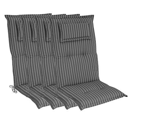 elGiga Hochlehner-Auflage 4-Stück Classic Grau Weiß gestreift 120 x 50 x 8 cm für Gartenstuhl, mit Kopfpolster, hochwertig, waschbar und...