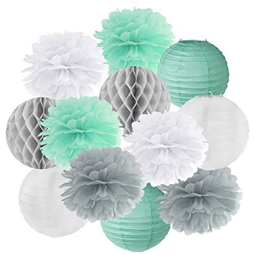 Hängedekoration 12 teilig Mix - Lampions, Wabenbälle/Honeycombs, Pompoms (mint/grau/weiß)