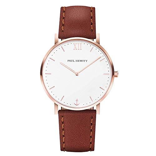 PAUL HEWITT Armbanduhr Damen Sailor Line White Sand - Damen Uhr (Rosegold), Damenuhr mit Lederarmband in Braun, weißes Ziffernblatt