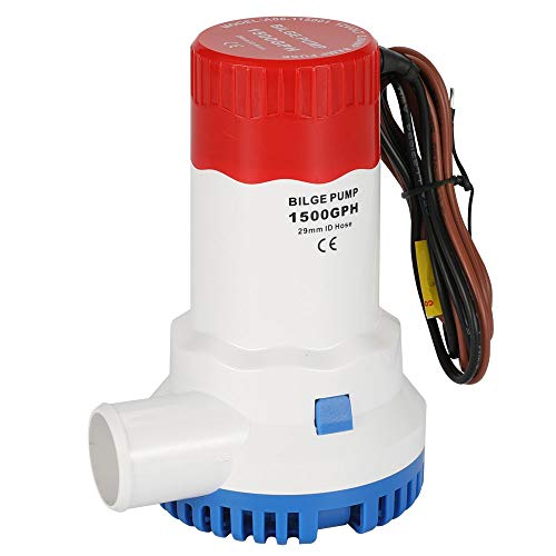 AIRTAK Bilge Pump for Boat DC12V 1500GPH Small Bilge Pump 12 Volt Electric Water Pump Low Noise