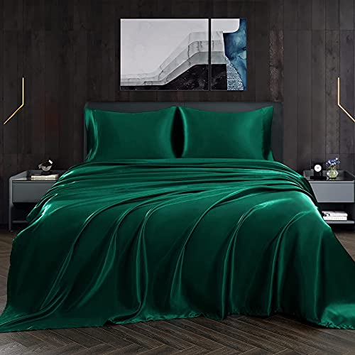 Homiest 4pcs Satin Sheets Set Luxury Silky Satin Bedding Set with Deep Pocket, 1 Fitted Sheet + 1 Flat Sheet + 2 Pillowcases (Queen Size, Blackish Green)