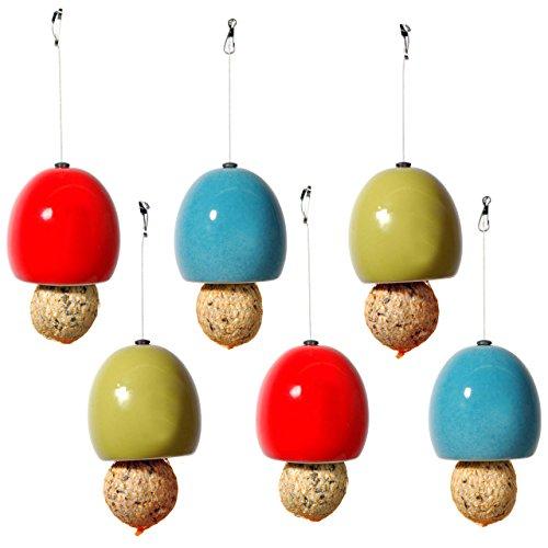 Lot de 6 mangeoires à Boules de Graisse - en céramique - 3 Couleurs - Diamètre : 9,5 x 9,5 cm