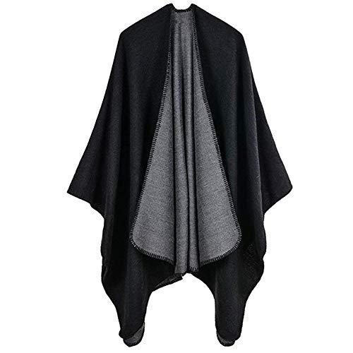 YCX Damen Einfarbig Warm Poncho Cape Umhang Schal Für Herbst Winter,Elegant Und Chic Schwarz Khaki Blau Rot 130X150cm,Schwarz
