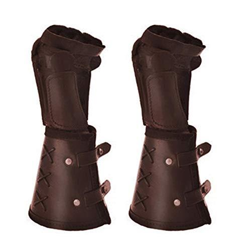 osmanthus Guante de Hombre Pulsera Medieval, brazaletes de Cuero Brazalete Steampunk de puño Ancho, Negro/marrón