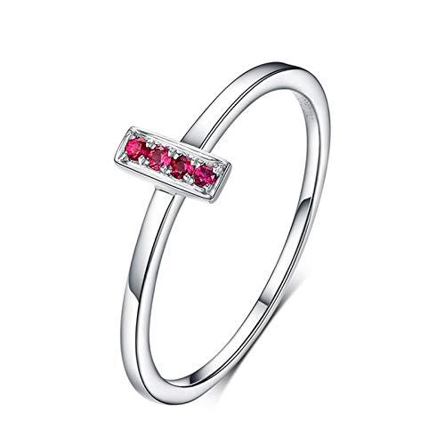 Ubestlove Women Rings Ruby 1St Wedding Anniversary Gifts Round Ring H 1/2 Wedding Band Set