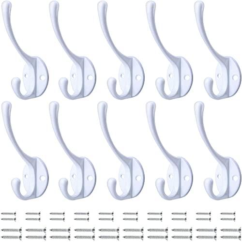 BIGLUFU 10 Piezas Ganchos Percheros, Ganchos Antiguos Tornillos de Metal Incluidos, Para Colgar Abrigo, Sombrero, Toalla, Bufanda, Bolso, Llave, Gorra (Blanco)