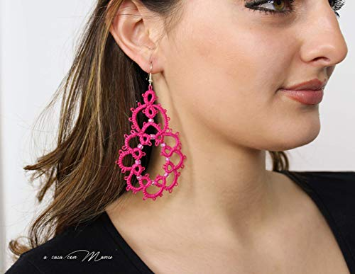 Orecchini grandi per ragazza color rosa fucsia