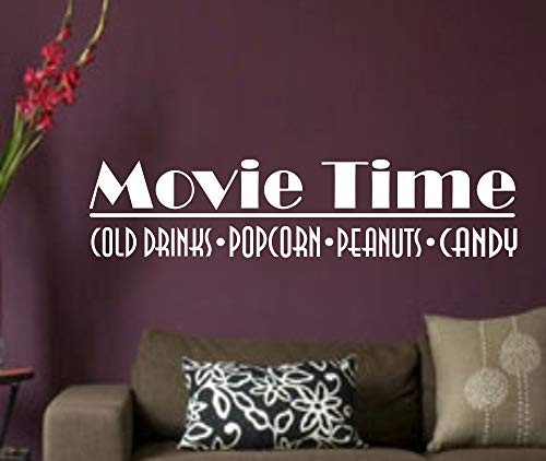 CECILIAPATER Movie Time Cold Drinks Popcorn Peanuts Candy Wandtattoo/Wandaufkleber, Vinyl, Motiv Familie