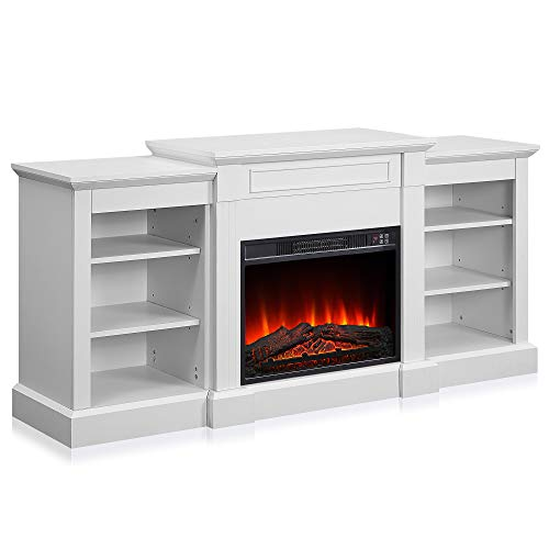 Della Lenore 66' Electric Fireplace Mantel Freestanding Media Mantel Stand with Bookcase Shelf, White