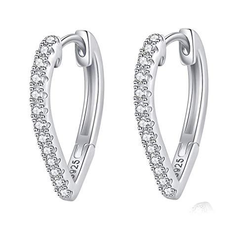 WHFY Pendientes de aro de plata brillantes y bonitos para mujer, pequeños pendientes de aro de plata de ley, delicados pendientes de circonita cúbica en forma de corazón con cierre