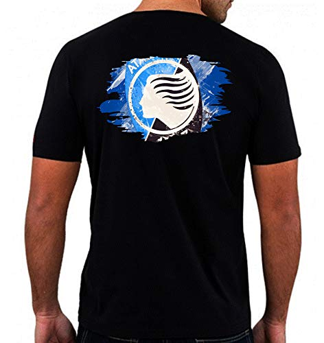 Maglietta nera Bergamo scudetto neroazzurro astratto stampa schiena Taglia M (per taglie XS S M L XL XXL invia messaggio con num. ordine) replica uomo, donna, bambino tifosi calcio