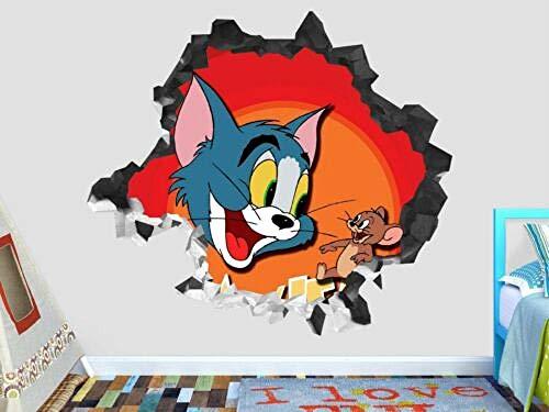 BAOWANG Wandtattoo Tom und Jerry glücklich zertrümmern Wandtattoo Kinder 3D-Aufkleber Dekoration Vinyl Kunst