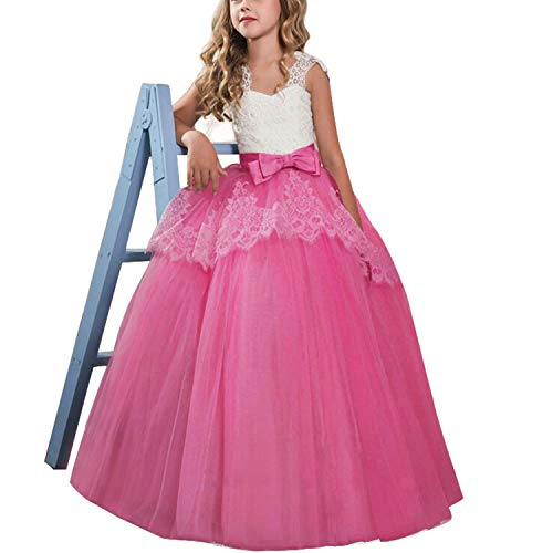 TTYAOVO Mädchen Blume Brautkleider Spitze Prinzessin Pageant Kleid Prom Ballkleid Größe (130) 02 Rose 6-7 Jahre