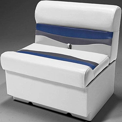 """DeckMate Classic 28"""" Pontoon Boat Seats (Gray/Blue/Charcoal)"""