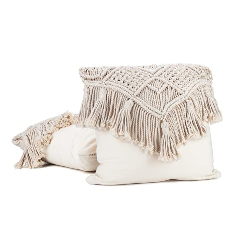 Boho-berry 2 x funda de cojin boho decoración | cojines decorativos para sofa 40 x 40 cm | macrame cojines cama decorativos | cojines etnicos en estilo bohemio | cojines boho de color beige | vintage