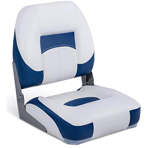 North Captain T1 Deluxe Low Back Folding Boat Seat, White/Blue,Stainless Steel Screws Included