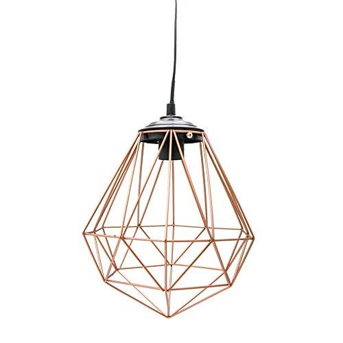 Rebecca Mobili Lampadario a soffitto, lampada sospesa marrone nera, metallo, stile contemporaneo, per cucina salotto, Max 25 Watt E27 - Cavo 80 cm - Paralume 23 x 26 x 26 cm (HxLxP) - Art. RE6262