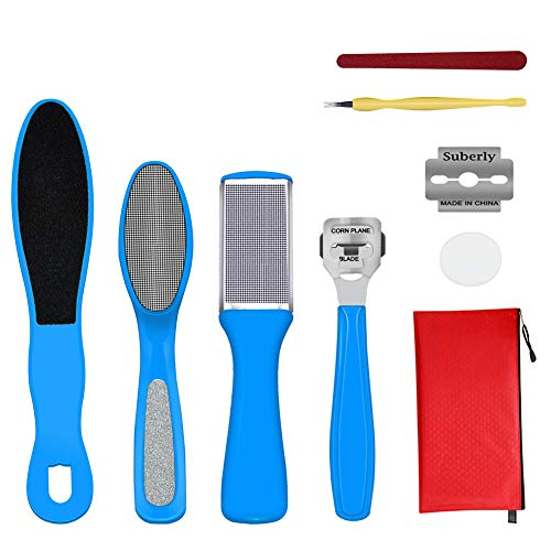 Foot Scrubber Foot File Professional Pedicure Set/Kit Pedicure Tools Foot File Foot Rasp Best Callus Remover for Dry and Wet Feet, Exfoliates, Removes Hard Skin, Surgical Grade Stainless Ste (9 in 1)