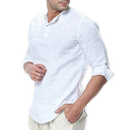 Minetom Camisa Hombre Cuello Mao Lino Blusa Manga 3/4 Camisas Top Sin Cuello De Color Sólido Blusas Suelta Camisas De Trabajo Suave Cómodo Transpirable A Blanco Large