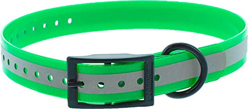 CANIHUNT - Collar Xtreme de poliuretano – Hebilla doble – 16 colores (2.5 x 0.25 x 65 cm, reflectante verde)