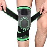 OPOB Best Knee Brace for Meniscus Tear 3D Weaving Knee Brace Breathable Sleeve Support for Running Jogging Sports (Green,XL)
