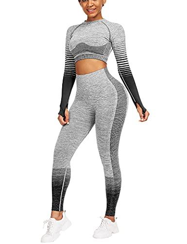 CINDYLOVER Tute da Ginnastica Donna 2 Pezzi Completto da Yoga con Pantalone e Top Corto con Maniche Lunghe per Corsa, fitness Abbigliamento Sportivo Morbido
