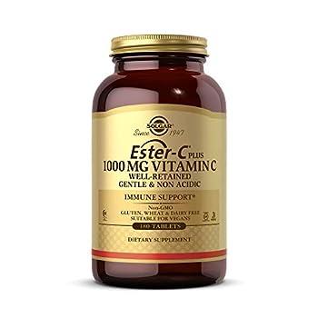 Solgar Ester-C Plus 1000 mg Vitamin C  Ascorbate Complex  180 Tablets - Gentle On The Stomach & Non Acidic - Antioxidant & Immune System Support - Non GMO Vegan Gluten Free Kosher - 180 Servings