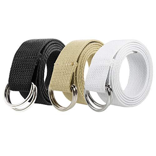 Gelante Canvas Web D Ring Belt Silver Buckle Military Style for men women 2052-Black/Beige/White(S/M)