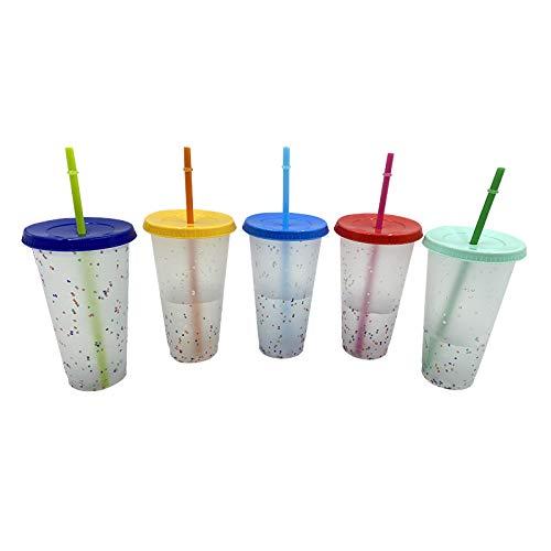 Copa de estadio que cambia de color, 5 unidades, 16 onzas, 5 colores de taza de plástico variable, vaso mágico reutilizable con tapa y pajita, color al azar