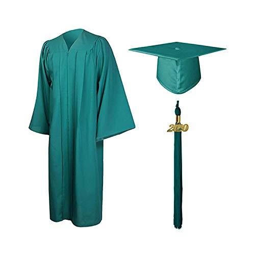 Vertvie Unisex Robe Akademischer Talar Doktorhut groß Größen Umhang für Abschlussfeiern Abschluss College Kleider für Erwachsene Studenten (Fit-grün, 39)