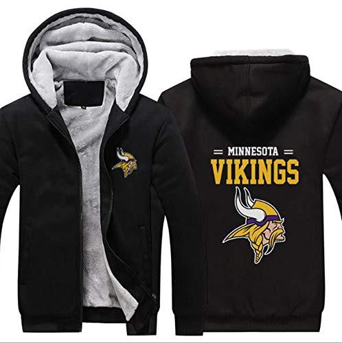 LLforever NFL JerseyHoodie Minnesota Vikings, Plus Samt-Rugby-Hemd-langärmlige T-Shirt-Druck Hemd mit Kapuze beiläufige Bequeme Thick Pullover,A,XL