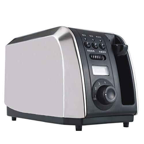 XIAOSAKU Tostadoras Pan Tostadora de Acero Inoxidable de 2 rebanadas tostadora tostadora automática con la exhibición del hogar Tostadora Fácil de Limpiar
