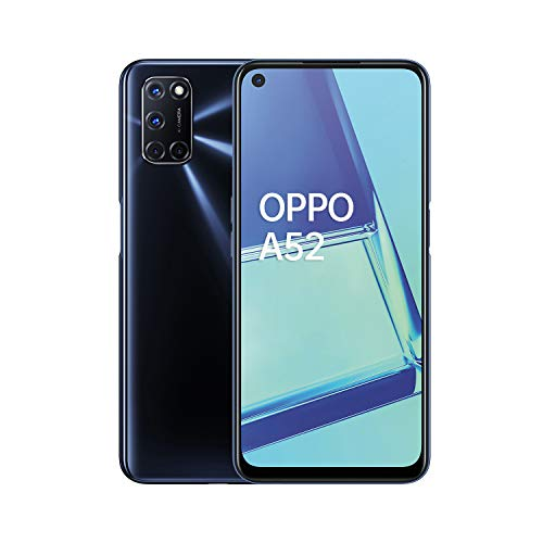 "OPPO A52 Smartphone, Display 6.5"" Full HD e Refresh Rate 90Hz, 4 Fotocamere Posteriori, RAM 4GB e 64GB Espandibile, Batteria 5000 mAh, 4G, Qualcomm Snapdragon 665, Colore Twilight Black"