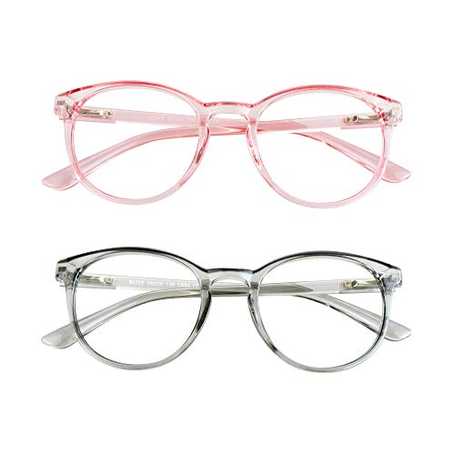 Blue Light Blocking Glasses, 2 Pack Computer Reading Glasses for Anti Eyestrain,Stylish Oval Frame, Anti Glare(Clear Pink + Clear Gray, 1.75 Magnification)