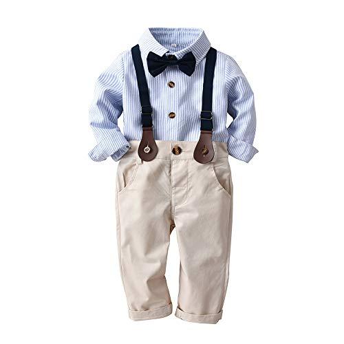 Chloefairy Baby Jungen Smoking Anzug Taufkleidung Kinder Langarm Gestreift Hemd mit Querbinder Hosenträger Hose Bekleidungsset Outfit Set Baumwolle für Winter Hochzeit Taufe Festlich (Blau, 80)