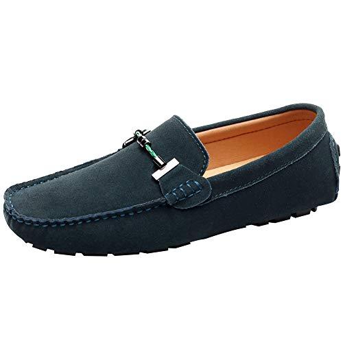 Jamron Hombres Elegante Hebilla Mocasines Comodidad Ante Zapatos de Conducir Estiloso Pantuflas Verde Oscuro SN19020 EU40
