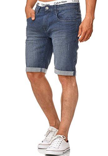 Indicode Herren Caden Jeans Shorts mit 5 Taschen aus 98% Baumwolle | Kurze Denim Stretch Hose Used Look Washed Destroyed Regular Fit Men Short Pants Freizeithose f. Männer Indigo Blue L