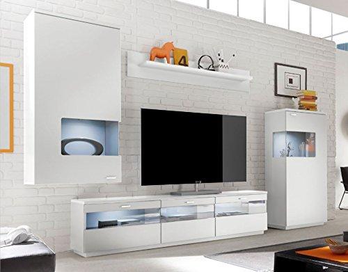 COMO Wohnwand 10 Anbauwand Wohnzimmer Wohnkombination Weiß supermatt