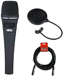 Heil Sound PR 35 Handheld Dynamic Cardioid Microphone (Black) with Pop Filter and 20' XLR Cable