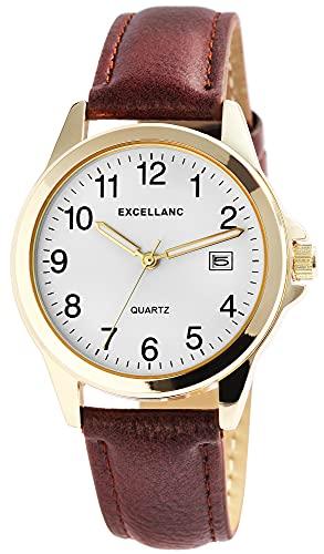 Excellanc Reloj de pulsera para hombre, color blanco, marrón, dorado, analógico, fecha, piel sintética, clásico, de cuarzo