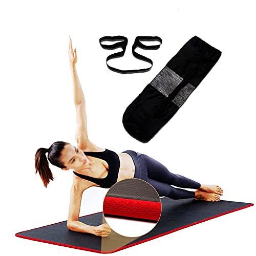 Esterilla de Yoga de 10 mm Extra Grueso 183X61cm / 72x24 Pulgadas Colchonetas Antideslizantes para Hombres y Mujeres con Correa de Transporte y Bolsa de Red Gimnasio en Casa Equipo de Gimnasio