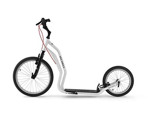 Yedoo Mula Tretroller - bis 150 kg, Kickscooter mit Luftreifen 20/16 - für Erwachsene, Scooter Roller mit Ständer und verstellbare Lenker, Dogscooter, weiß